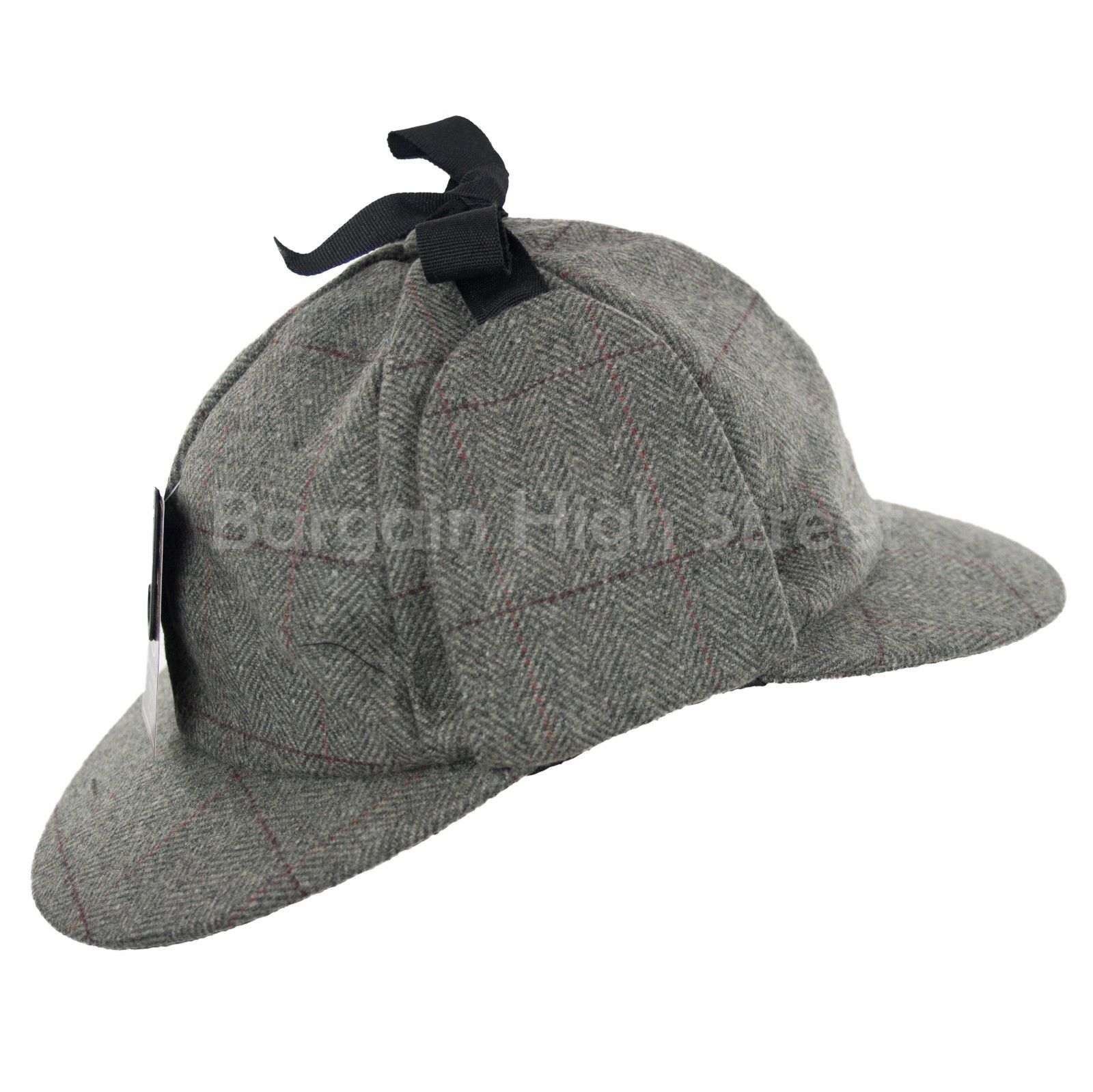 Grey Country Wool Tweed Deerstalker Hat Sherlock Holmes Hunting