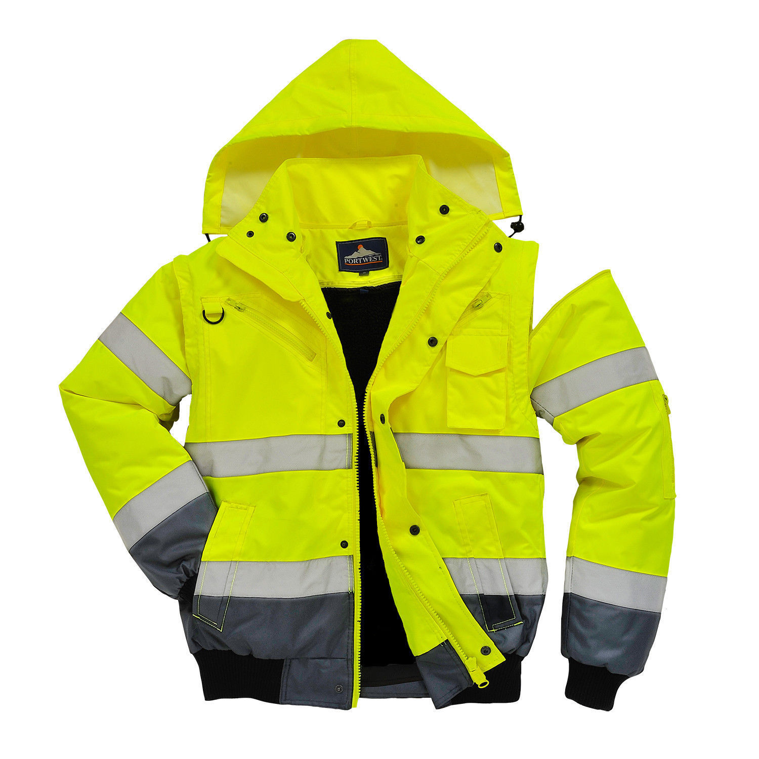 Yellow or Orange M-6XL Portwest UC465 High-Visibility 3-in-1 Bomber Jacket