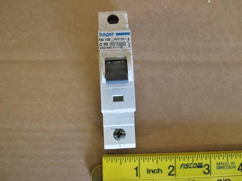 1 x used hager 32a mcb c32 nc132 1 pole miniature