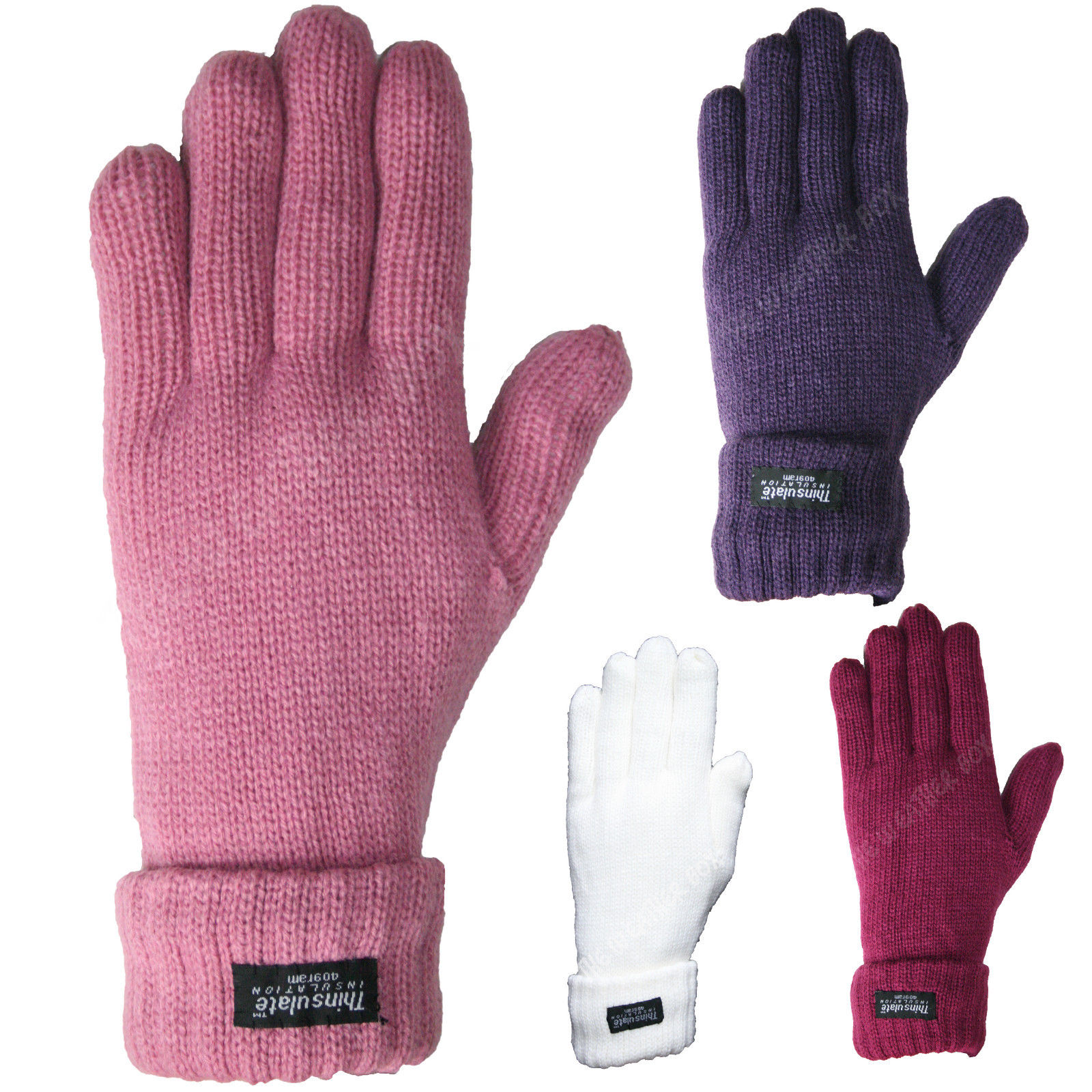 Ladies Thinsulate Ribbed Knitted Gloves Super Thick Lined
