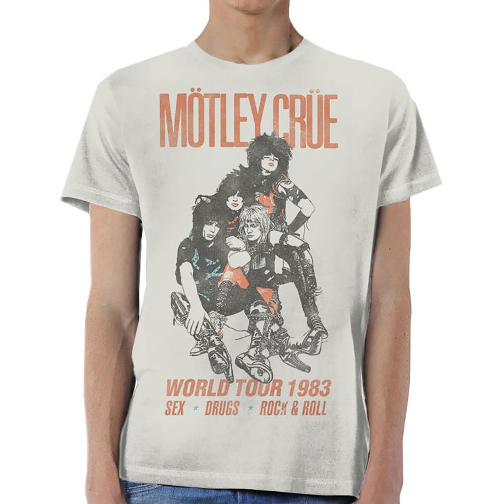 Motley Crue Vintage World Tour Rock Metal Licensed Tee T-Shirt Men