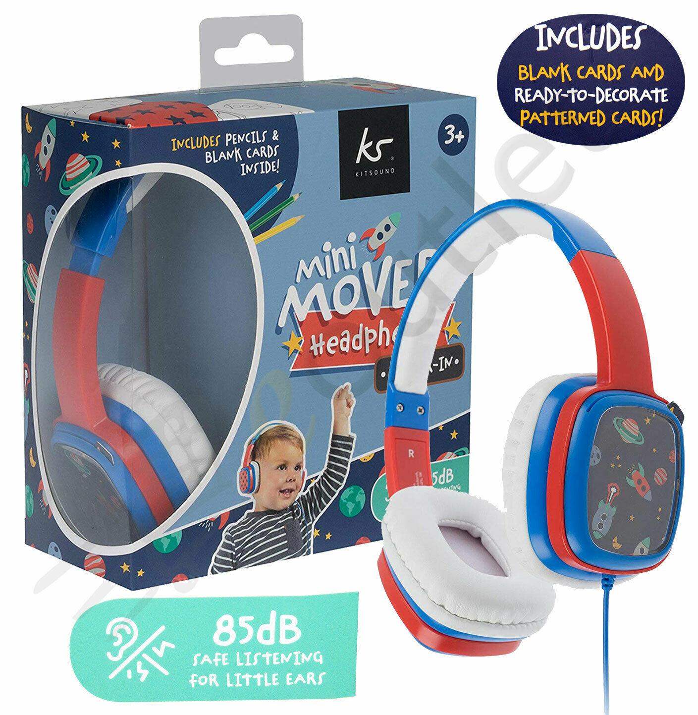 Dettagli su Bambini Mini Traslochi Kitsound Ragazzi Colorare Cuffie Blu con Matite
