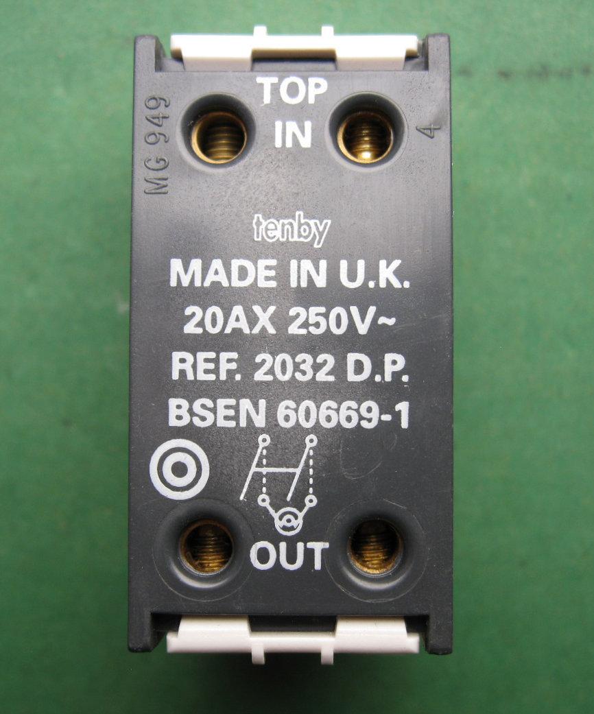 Tenby Multigrid Grid Switch 20AX 20A 1 Way Double Pole +Neon label ...
